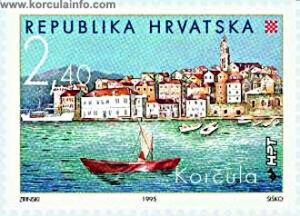 Stamp - image of Korcula from 1999