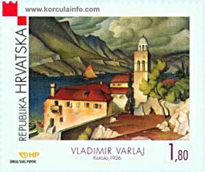 Vladimir Varlaj: Painting of Sveti Nikola Church, Korcula (1926)
