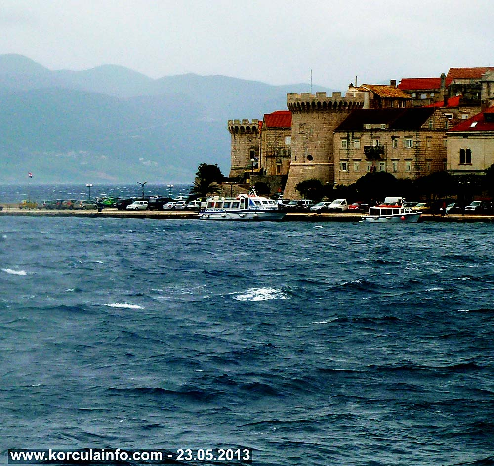 Windy, rainy day in Korcula port