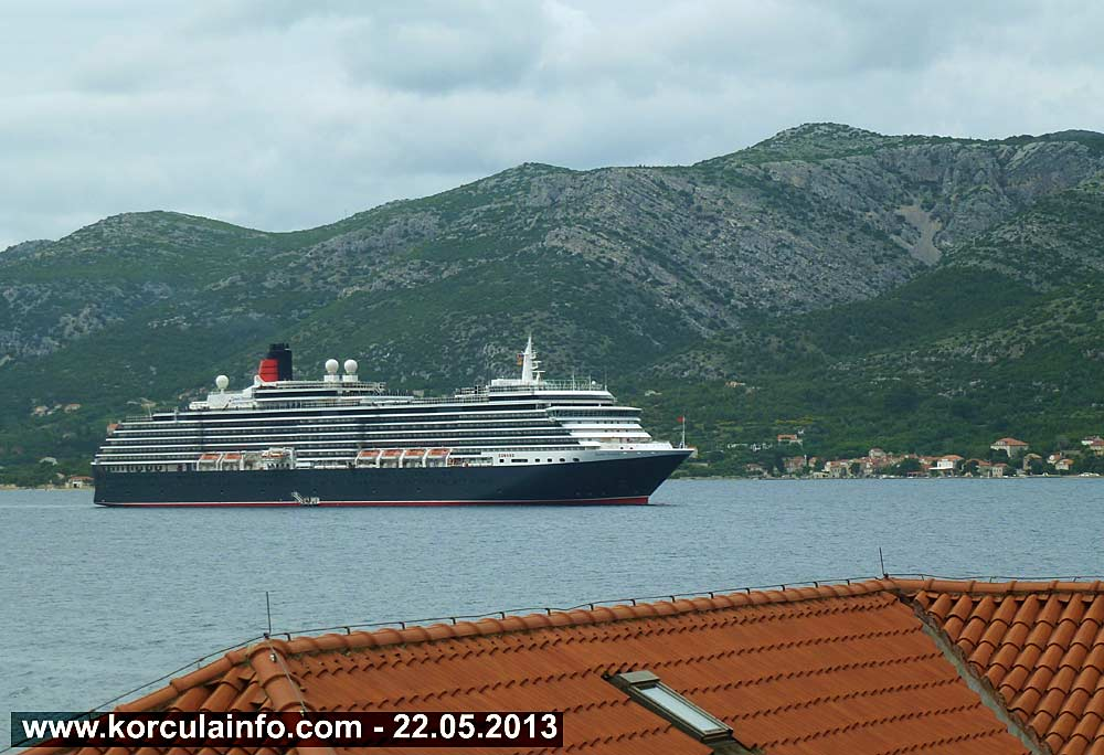 MS Queen Victoria Cruise Ship in Korcula Today