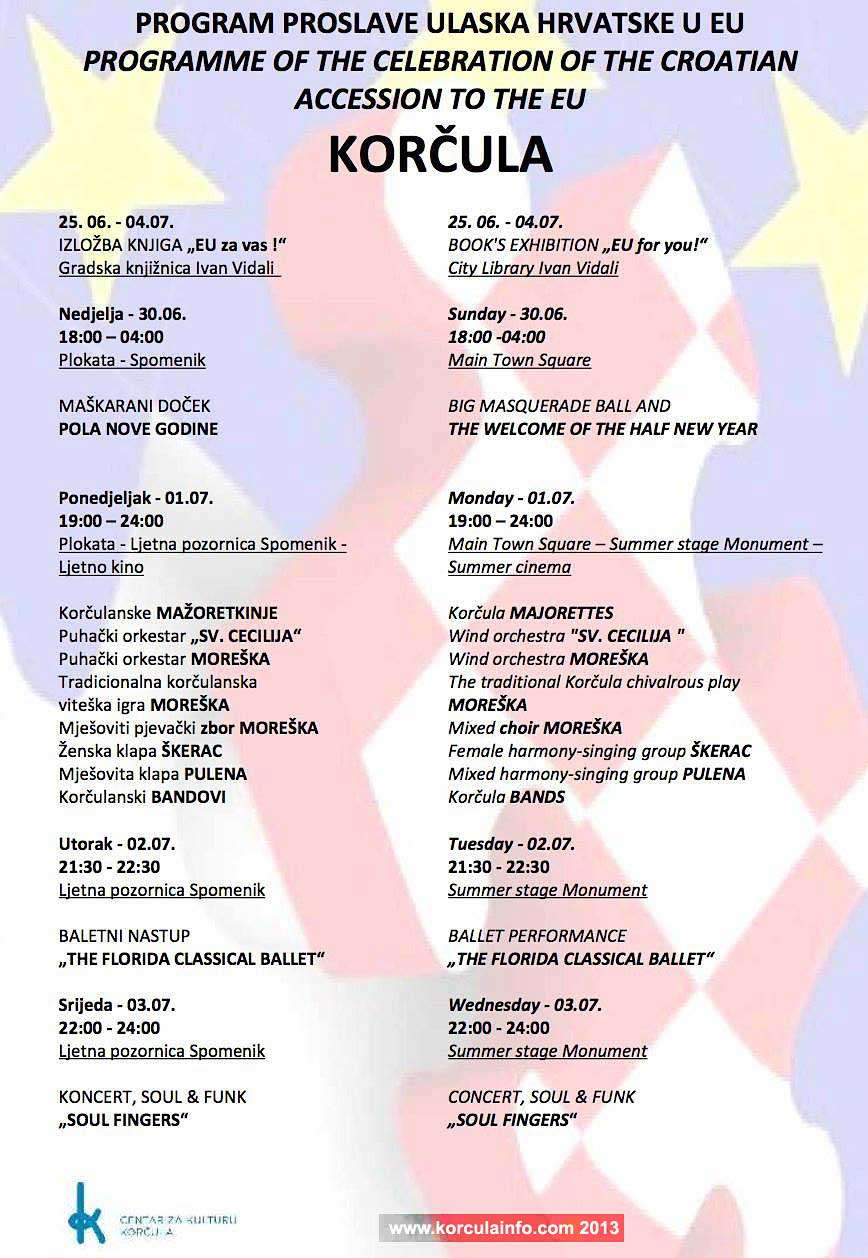 Programme of the Celebration of the Croatian accession to the EU