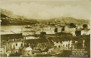 Views from Sveti Nikola over Korcula Old Town (1900s)