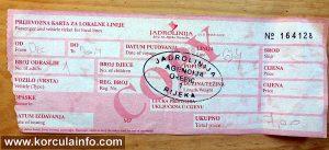 Ferry ticket Orebic - Domince (Korcula)