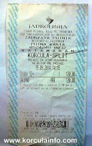Catamaran ferry ticket Korcula-Split