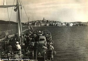 Ferry approaching Korcula (1950s)