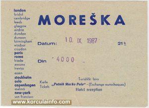 Moreska Ticket from 1987