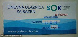 Indoor Swimming Pool 'Gojko Arneri' - Korcula - Ticket from 24.09.2013 - 3rd one sold.