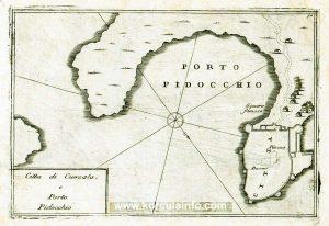 Korcula Map from 1688 - Citta di Curzola e Porto Pidocchio