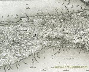 Map from 1877 - Pupnat, Racisce, Cara, Smokvica - Korcula Island