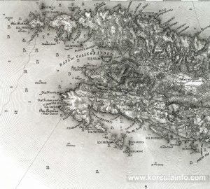Map from 1877 – Vela Luka, Proizd, Osjak, Trstenik, Prznjak, Tri Porti, Blajsko Polje – Korcula Island