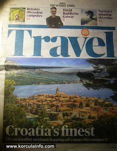 Korcula on the front page of Times Travel supplement, April 2017