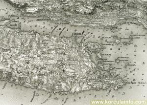Map of Korcula Town and surroundings from 1877