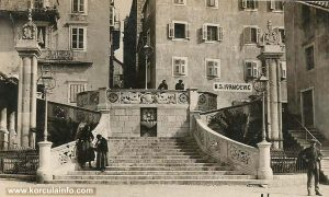 Two pillars at the west Korcula port (1920s)