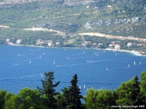 Windsurfers in Peljesac Channel Island of Korcula