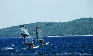 Pair of Windsurfers in Korcula waters