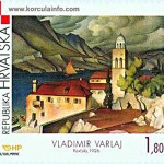 Vladimir Varlaj: Painting of Sveti Nikola Church, Korcula (1926)