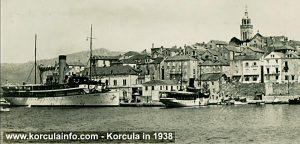 Korcula Port with ship Kumanovo in 1938
