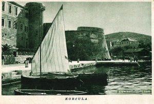 Sailing boat in Riva, Korcula port in 1920s