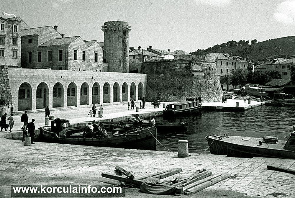 Riva (port ) in Korcula in 1950s