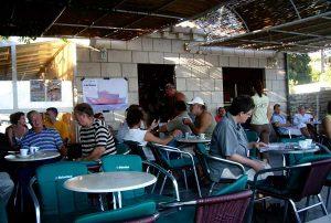 Morning coffe in Lumbarda's cafe