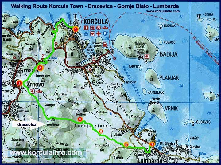 Walking Route from Korcula Town via Dracevica Zrnovo to Gornje Blato and Lu