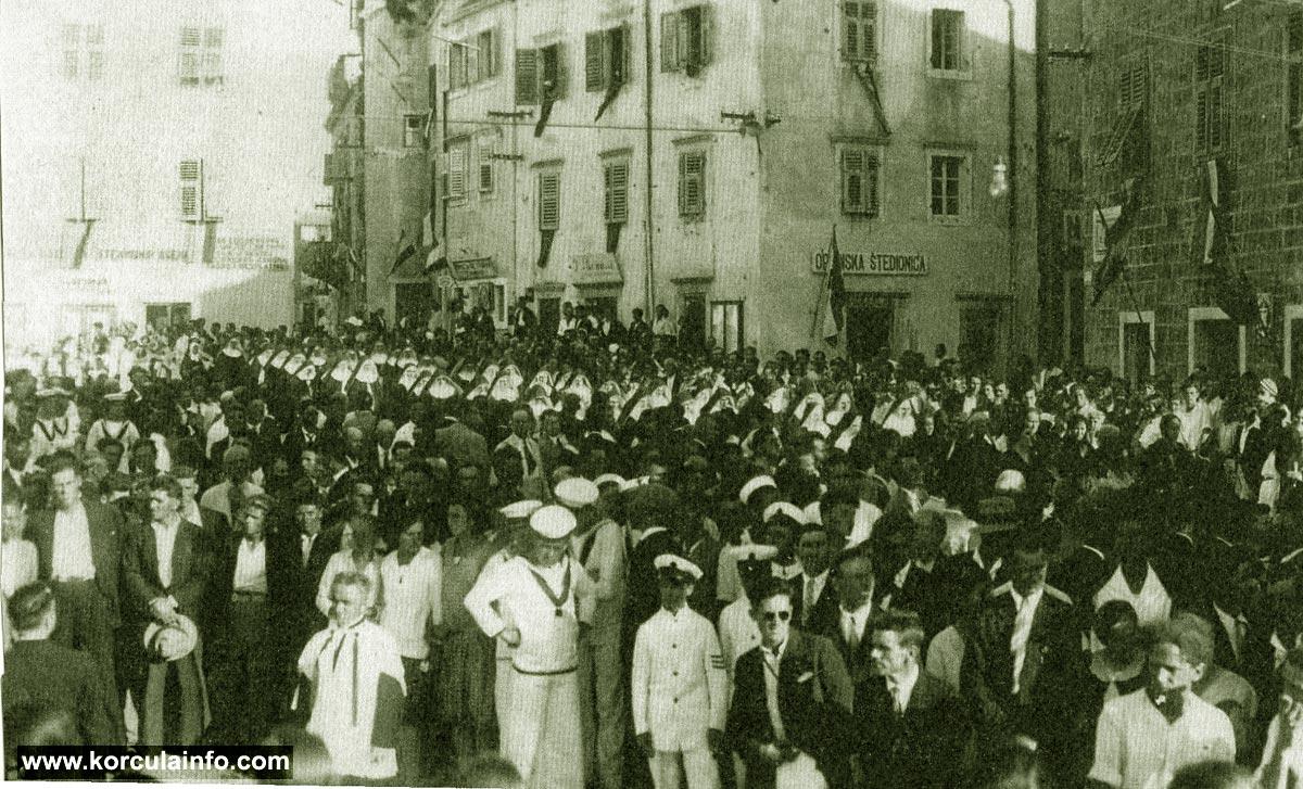 Religious procession on Plokata Square, Korcula in 1934