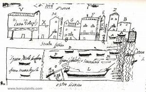 Punta Jurana in Korcula - vintage map of local shipyards from 1778