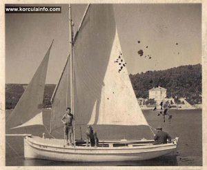 Sailing boat in Luka Korculanska in 1930s