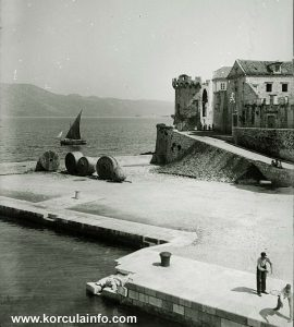 Sailing boats passing near Korcula in 1900s