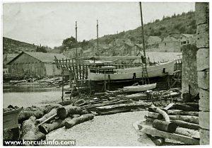 Shipyard in Borak, Korcula in 1930s