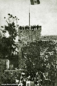 Tower Revelin with Italian Flag in 1918
