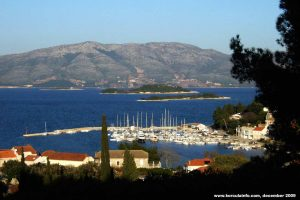Views over marina in Lumbarda on the sunny winter's day