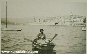 Woman, boat and dog, Korcula 1930s