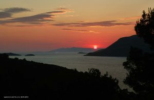 Sunset in Peljesac Channel - viewed from Forteca, Korcula