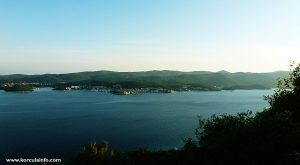 Views over Peljesac Channel to Korcula Town