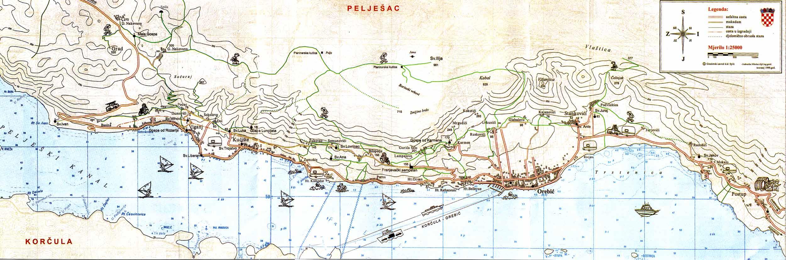 Sveti Ilija - Peljesac Map