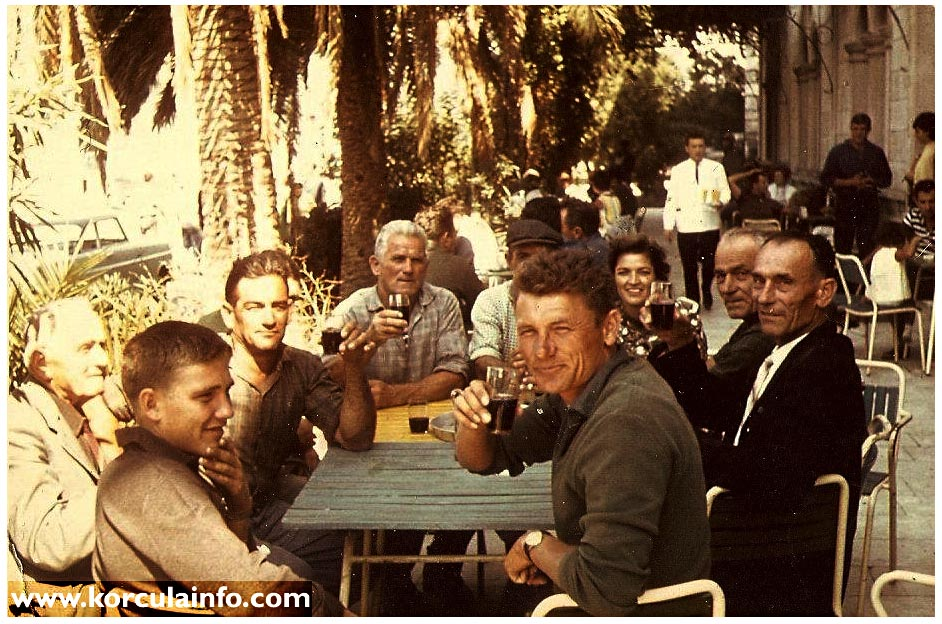 Group of locals drinking terrace of hotel korcula 1960s for The terrace group