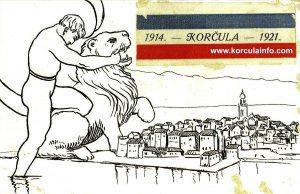 Korcula @ Hrvatski Sokol postcard from 1921