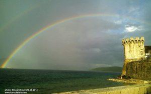 Rainbow in Peljesac Channel, Korcula (June 2014)