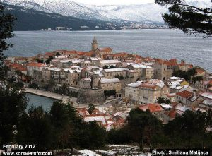 Snow in Korcula Old Town - panorama (2012)