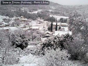 Snow in Postrana - Zrnovo, Korcula Island (2009)