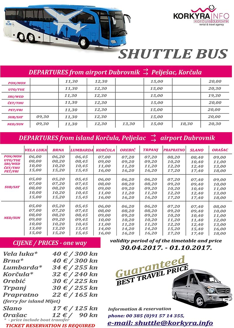 Dubrovnik Airport to Korcula, Peljesac and Mljet - Airport Shuttle schedules and prices