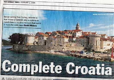 Korcula in Sunday Times