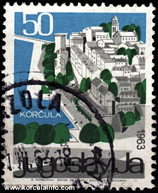 Stamp - image of Korcula from 1963