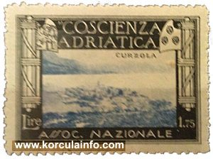 Stamp with image of Korcula (from 1930s)