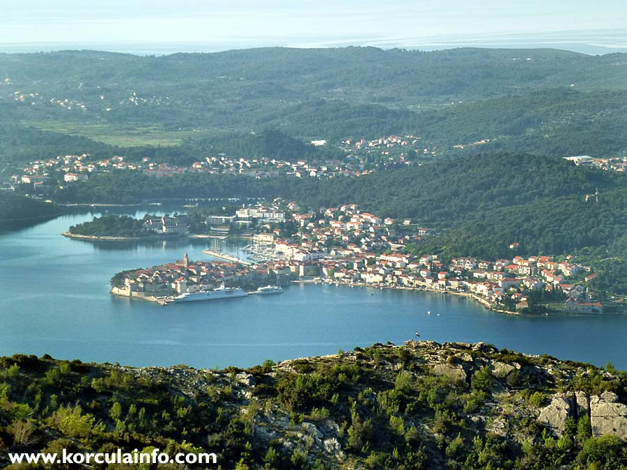 Views over Peljesac Channel and Korcula Old Town - half the way up:
