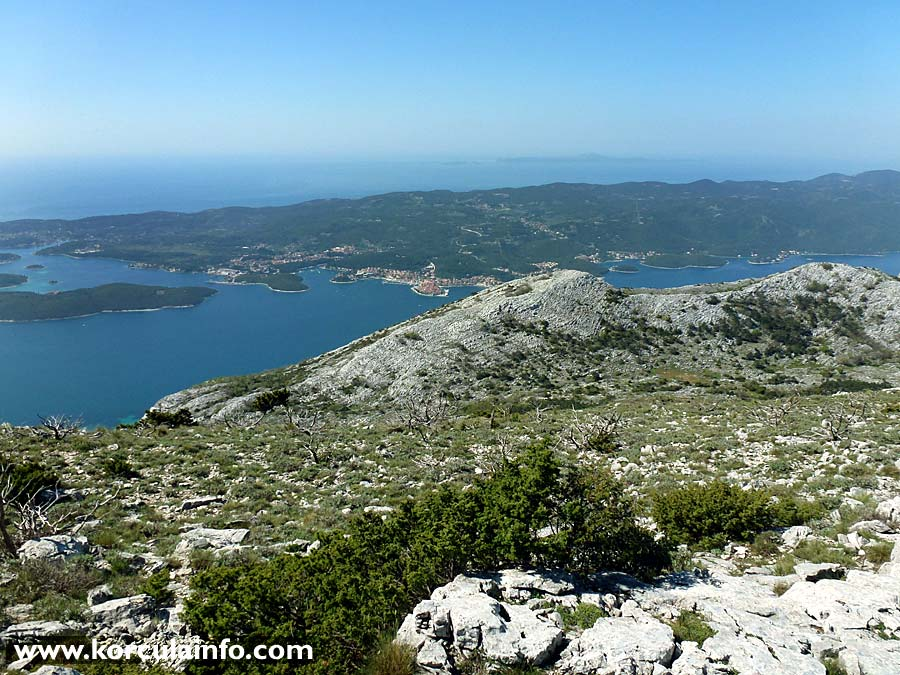 Views over Korcula Town and Lumbarda: