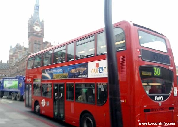 London Red Double Decker Bus with Croatia Advert