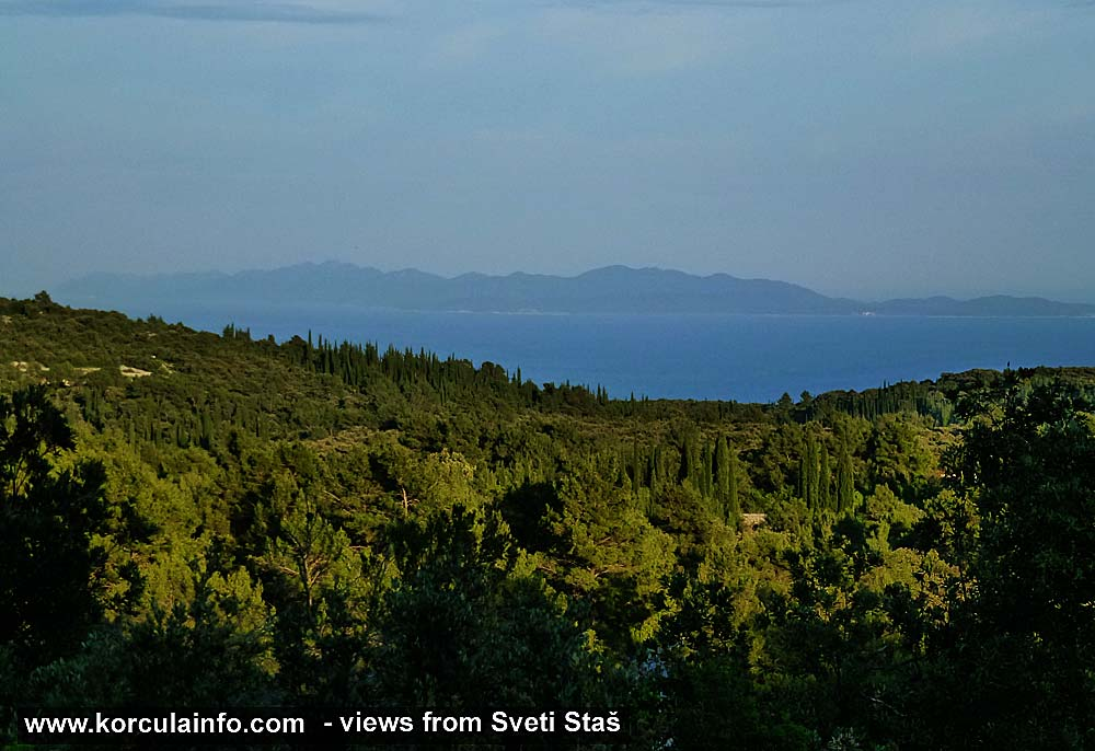 Views from Sveti Staš towards Mljet Island