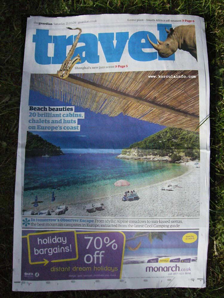 Beach Pupnatska Luka at the front page of Guardian Travel